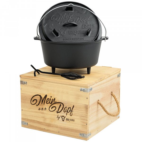 "BBQ-Toro Dutch Oven ""Mein Dopf"", 9,0 L Sonderedition inkl. Holzkiste"
