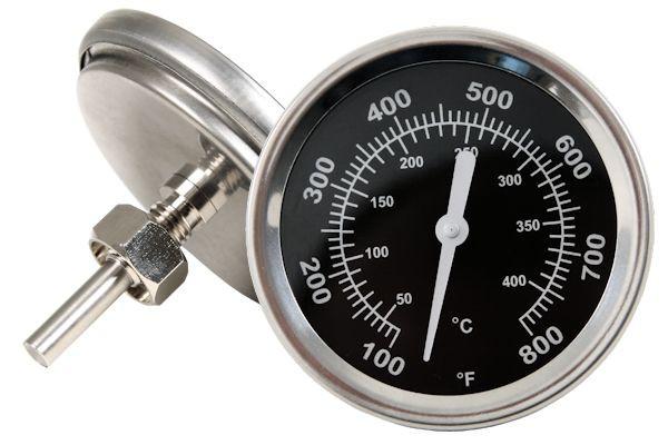Thermometer bis 400 °C / 800 °F, für Smoker / Grillwagen