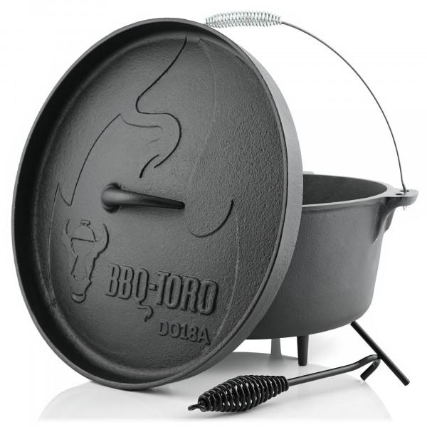 BBQ-Toro Dutch Oven DO18A, 19,0 L Alpha Gusseisen Kochtopf, Gusstopf