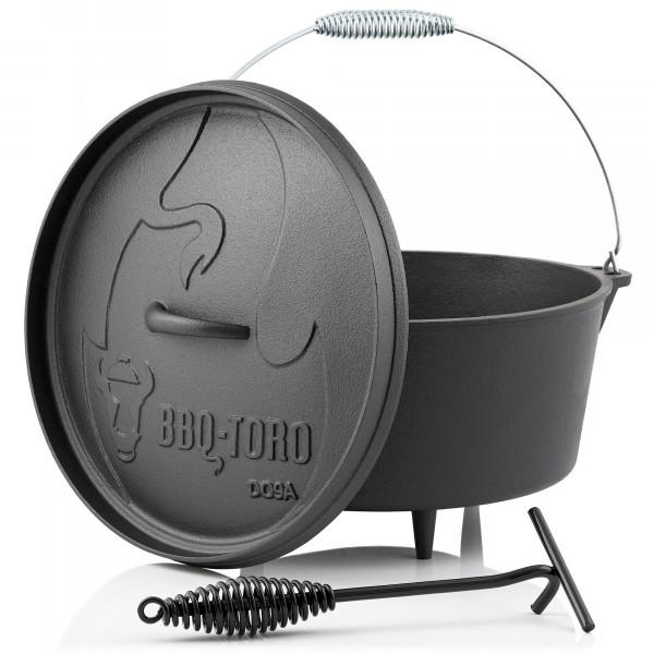 BBQ-Toro Dutch Oven DO9A, 7,2 L Alpha Gusseisen Kochtopf, Gusstopf