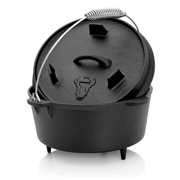 BBQ-Toro Dutch Oven DO4.5 Gusseisen Kochtopf, 4,2 L Deckel mit Füße