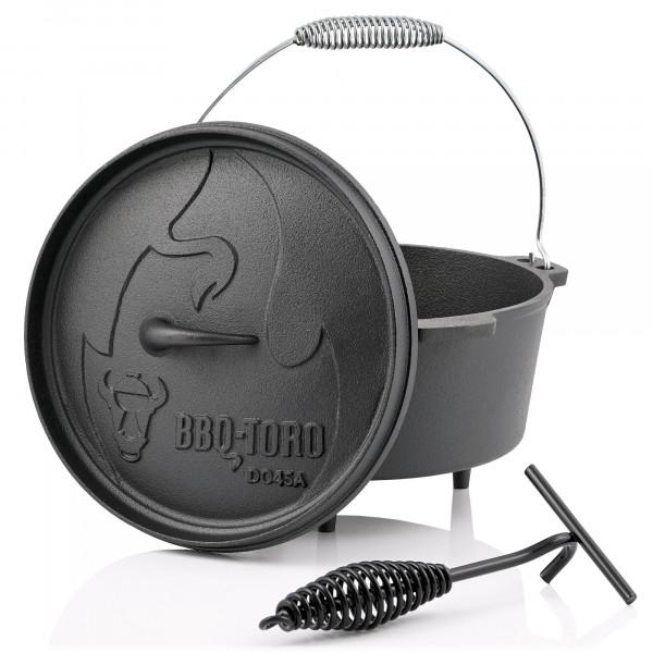 BBQ-Toro Dutch Oven DO45A, 3,1 L Alpha Gusseisen Kochtopf, Gusstopf