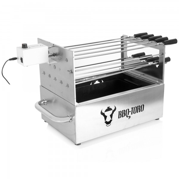 BBQ-Toro Edelstahl Kohlegrill mit Spießaufsatz 10 Spießen und Motor