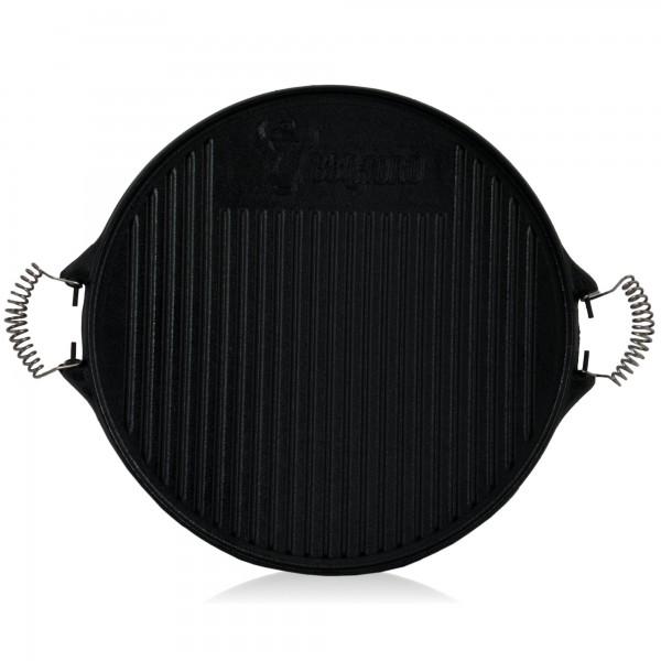 BBQ-Toro Gusseisen Grillplatte mit Griffen | Ø 42 cm | Wendeplatte, emailliert