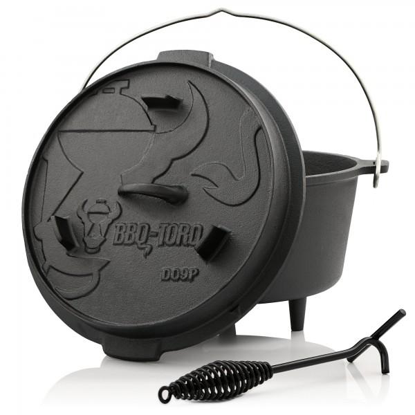 BBQ-Toro Dutch Oven DO9P, 9,0 L Premium Gusseisen Kochtopf, Gusstopf