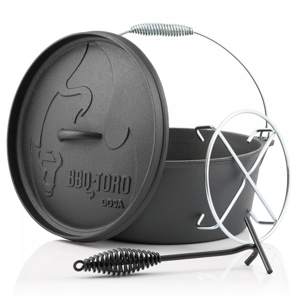 BBQ-Toro Dutch Oven DO9AX, 7,2 L Alpha Gusseisen Kochtopf, Gusstopf