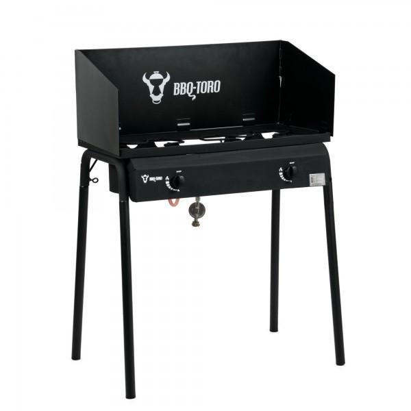 BBQ-Toro Gas Grilltisch mit Windschutz | Gusseisen Gaskocher 2 Brenner | 12 kW