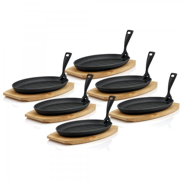 BBQ-Toro 6er Gusseisen Servierpfännchen-Set | 27 x 18 cm | gerippt