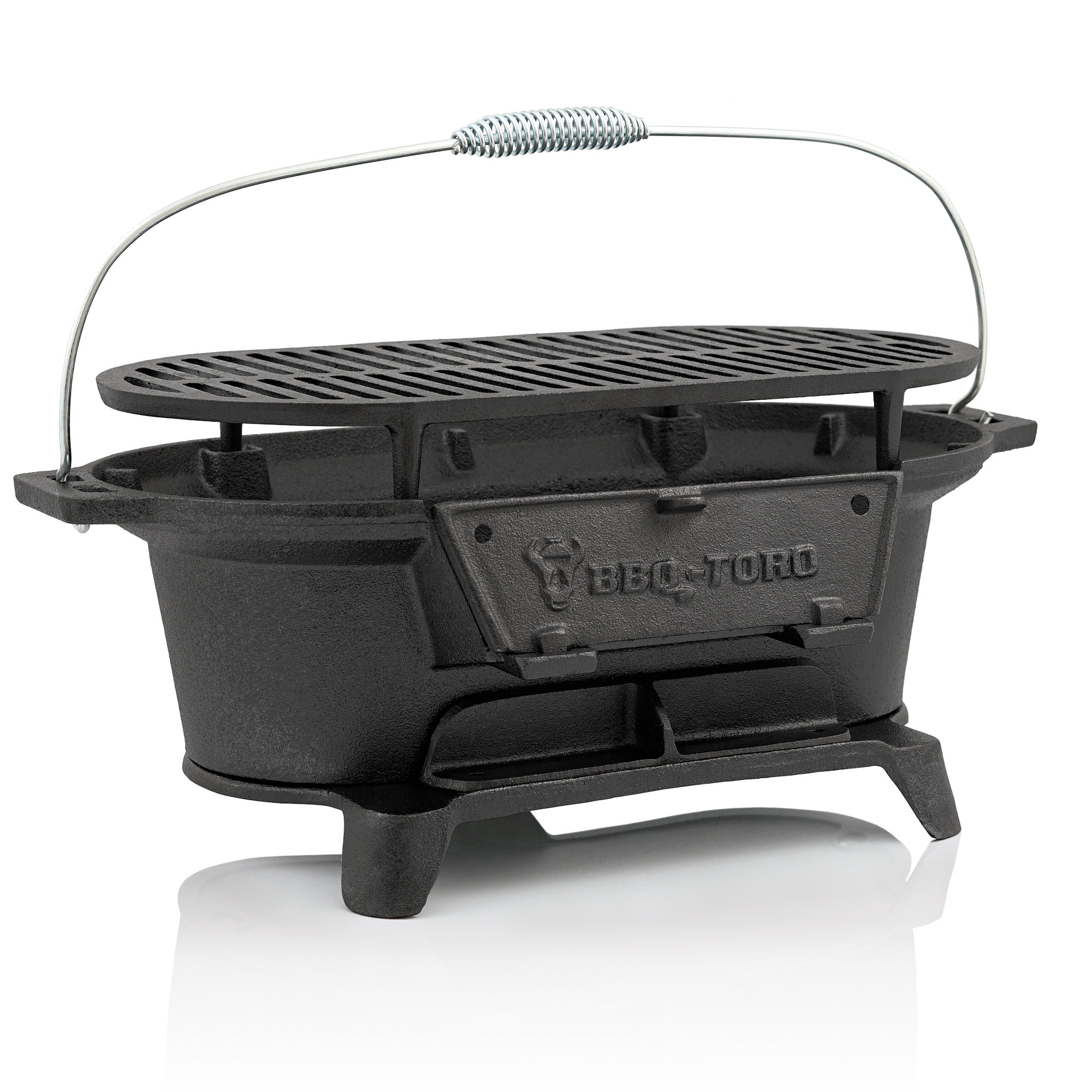 bbq toro gusseisen holzkohle grilltopf mit grillrost 50 x 25 x 23 cm bbq der. Black Bedroom Furniture Sets. Home Design Ideas
