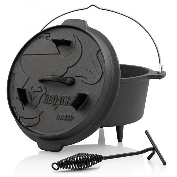 BBQ-Toro Dutch Oven DO45P, 4,2 L Premium Gusseisen Kochtopf, Gusstopf