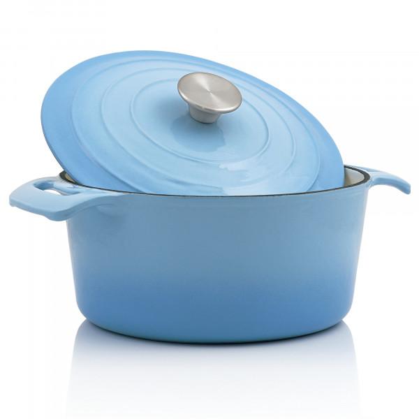 BBQ-Toro Cocotte | 4,0 Liter - Ø 24 cm | Gusseisen, emailliert, blau