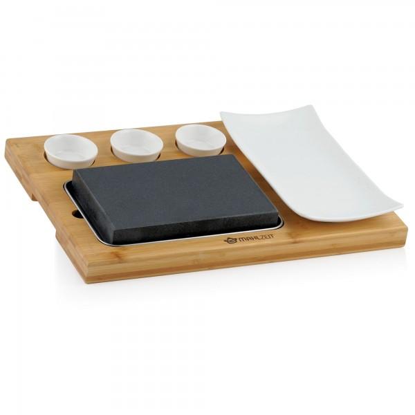 Mahlzeit Lavastein Set (7-teilig) | Set mit heißem Stein, Teller und Dipschalen