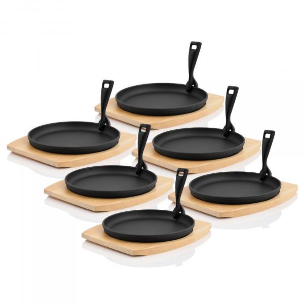 BBQ-Toro 6er Gusseisen Servierpfännchen-Set | Ø 22 cm, rund, mit Holzbrett