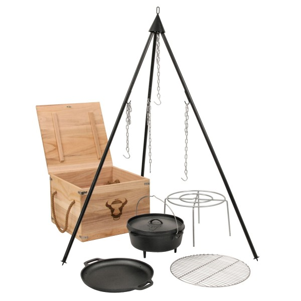 BBQ-Toro Dutch Oven Kit in Holzkiste, 6-teiliges Gusseisen Kochset