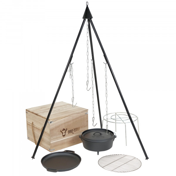 BBQ-Toro Dutch Oven Kit in Holzkiste, 6-teiliges Gusseisen Kochset