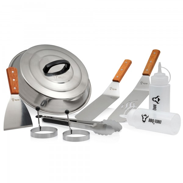 BBQ-Toro 9-teiliges Edelstahl Grill Plancha Zubehör Set | Teppanyaki Werkzeug