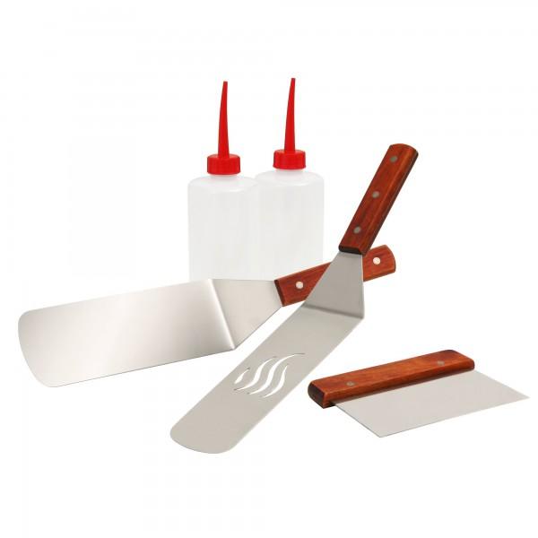 BBQ-Toro 5-teiliges Edelstahl Grill Plancha Zubehör Set | Teppanyaki Werkzeug